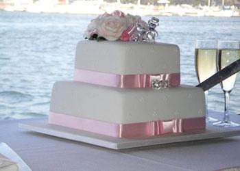 wedding cake on the water