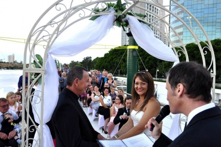 Wedding ceremony on rooftop deck