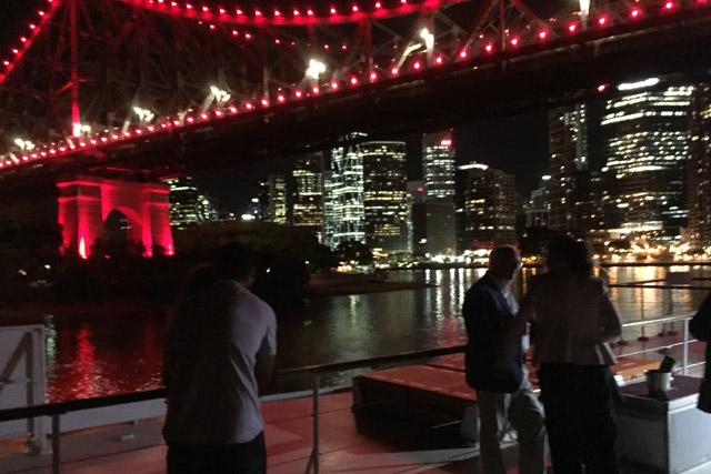 City lights, story bridge views on Kookaburra dinner cruise