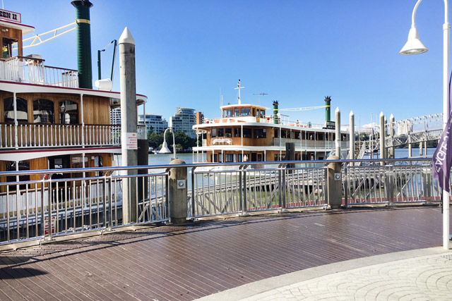 Departing Eagle Street Pier, Brisbane High Tea Cruise