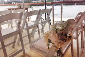Vintage themed wedding ceremony on Kookaburra Queen II