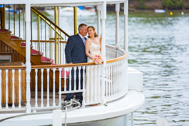 Romantic wedding on board Kookaburra Queen Brisbane